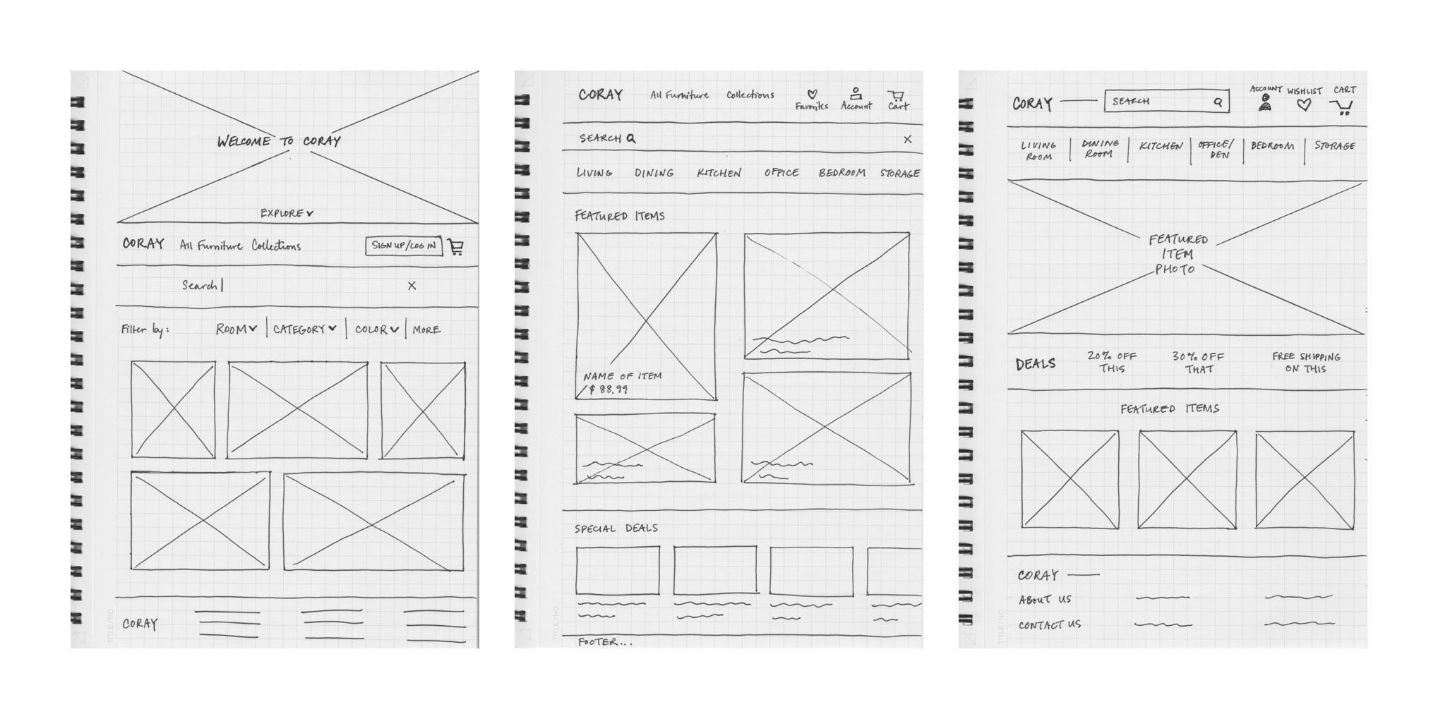 Coray Wireframe Sketches Case Study V1