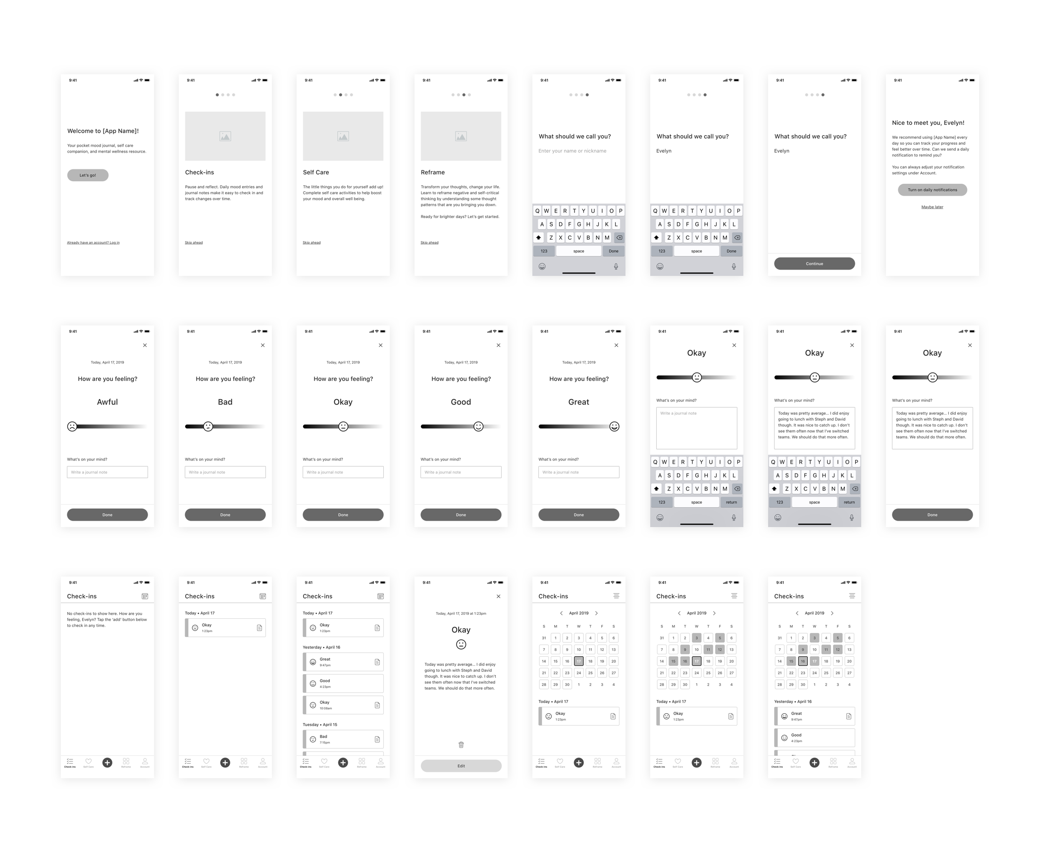 Mental Health App Wireframes V1 p1