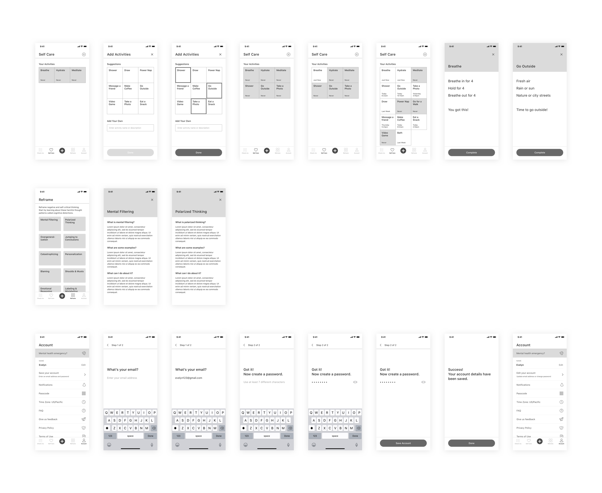 Mental Health App Wireframes V1 p2