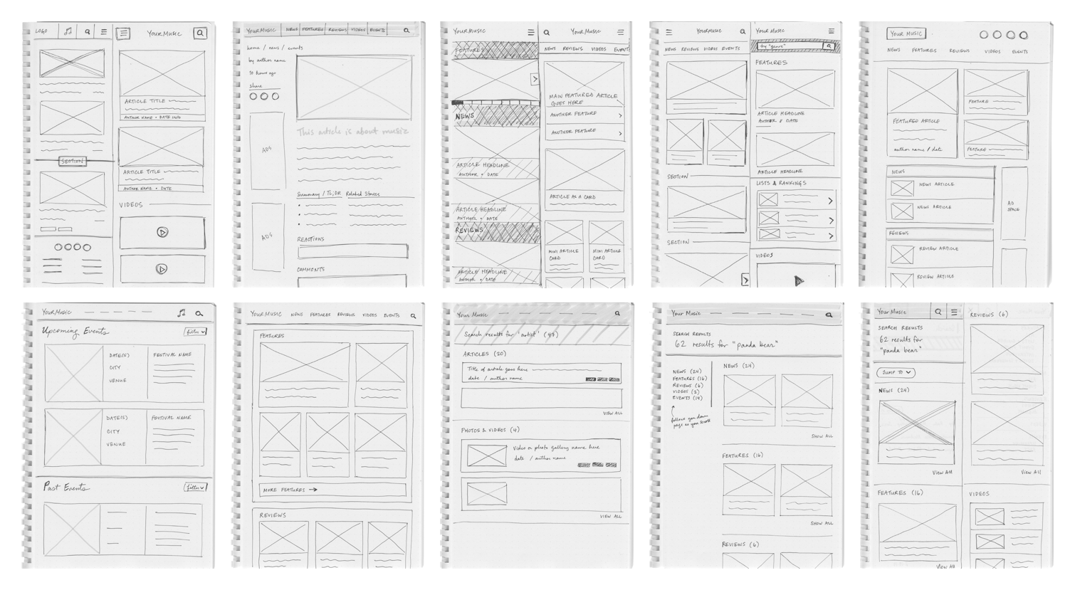 Wireframe Sketches for Case Study V1